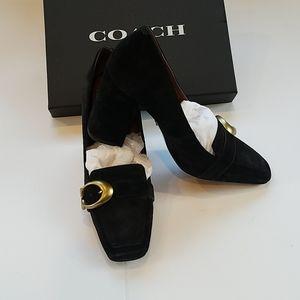 Coach black suede block heel loafers